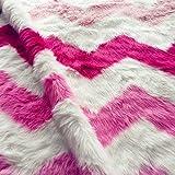 Wolala Home Super Soft Faux Fur Sheepskin Rug Carpet Chair Cover Seat Pad Pink Striped Super Fluffy Warm Shag/Shaggy Area Rug Livingroom (5'x7', Pink)