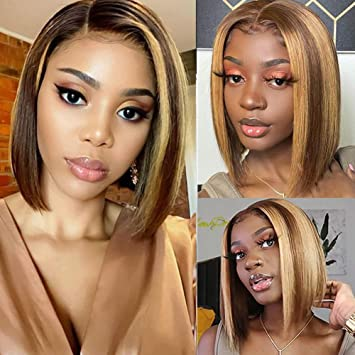 Amazon Com Highlight Human Hair Bob Wigs Short Straight Honey Blonde Ombre Lace Front Wigs Pre Plucked 150 Density For Black Women 12 Inch 4 27 Color Beauty