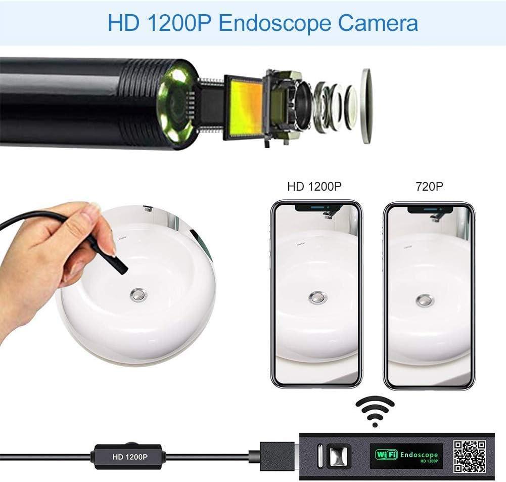 Compatible avec Android MingBin Endoscope WiFi,Cam/éra Endoscopique 1200P HD 2,0 M/égapixels IP68 Etanche 10M Semi-Rigid WiFi Endoscope avec 8 LED iOS Smartphone,Tablette,PC