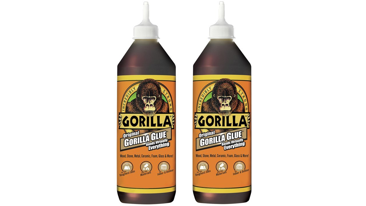 Gorilla Original Gorilla Glue, Waterproof Polyurethane Glue, 36 ounce Bottle, Brown, (Pack of 2)