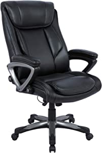 Statesville Big & Tall 400lb Office Chair - Adjustable Tilt Angle, Thick Padding and Ergonomic Design PU Leather Executive Desk Computer Task Swivel Chair Lumbar Support