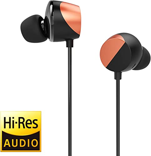 TUNAI Drum Hi-Resolution Audiophile in-Ear Earbud Headphones Powerful Bass and Lively Sound Stage with Improved Noise Isolation Comfortable for Workout, Running and Great for Gaming Shine Orange