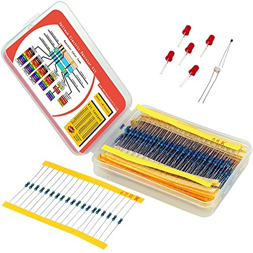 Resistor Assortment Kit - Set of 600 Assorted Resistors from 10 Ω to 1 Mω in a Box - Metal Film Resistors Variety Pack with 30 Values Plus Thermistor, Photoresistor and 5 LEDs from Optimus Electric - 1% Metal Film Resistor