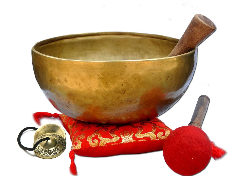 9'' G Throat Chakra Old Tibetan Singing Bowl,massive mater healing singing bowl,meditation bowl from Tibet,Handmade singing bowls, including free Tingsha Cymbals, Silk Cushion Wooden Mallet (Strike).