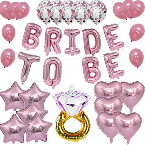 Snorain Bride To Be, Rose Gold Bridal Shower Decorations - Bridal Shower Party | 16 Inch, Mylar Foil Letter Balloons |Diamond Engagement Wedding Ring + Extra Pack of 25 Balloons (Bridal Shower Magnets)