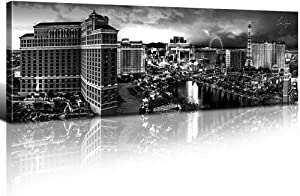 Las Vegas Skyline Wall Art Decor Canvas Print Black and White Cityscape Modern Landscape Panoramic Poster City Building Picture Painting Artwork Framed for Office Home Decoration 14x48 Inch 1 Panel