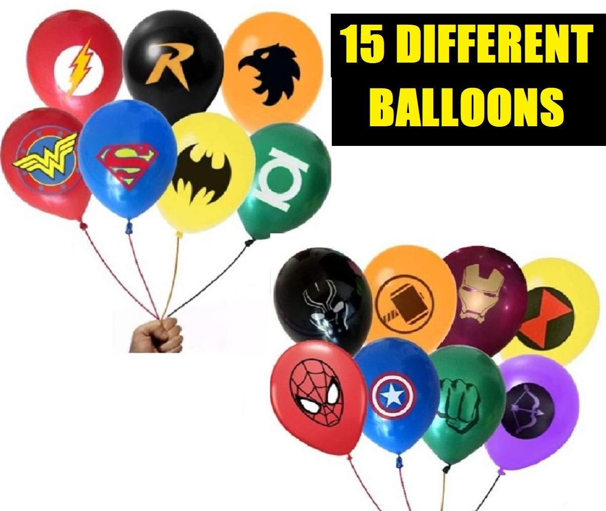 FAT CAT SALES SUPERHERO JUSTICE LEAGUE DC AVENGER BALLOON BUNDLE 15 pcs