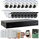 GW Security 1080P HD 16 Channel Video Security System - 16 x 2.1 MP Weatherproof IP66 Bullet & Dome Cameras, Pre-Installed 4TB HD for 180 Hours 16Ch Recording HD 1080P, Quick QR Code Smartphone Access