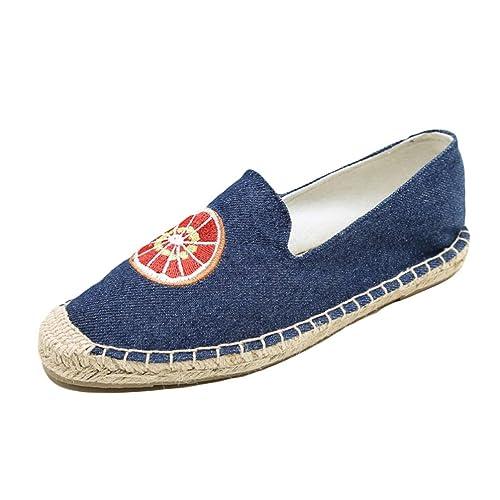 Naranja Bordar Alpargatas Mujeres Plataforma Zapato Slip on Ladies Casual Playa Cáñamo Lona Zapatos: Amazon.es: Zapatos y complementos