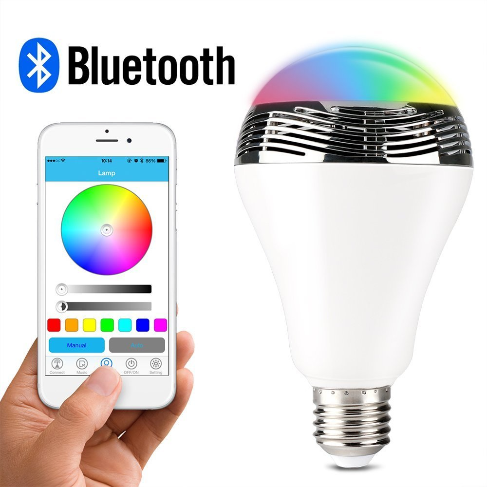 Belively Wireless Bluetooth 4.0 E27 Smart LED Night Light with Dimmable Multicolored Color Changing (White) H&PC-65115