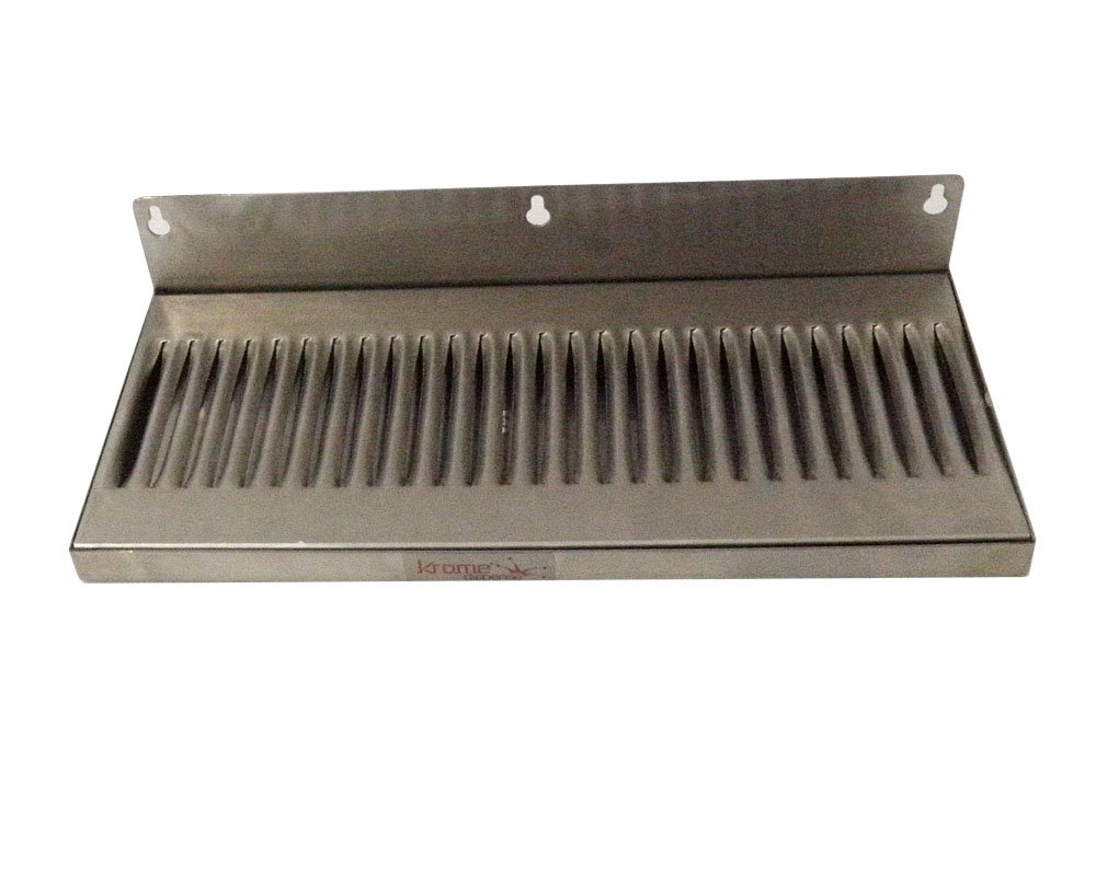 """Home Brew Stuff COMINHKPR01771 6"""" x 14"""" Stainless Steel Wall Mount Draft Beer Drip Tray"""