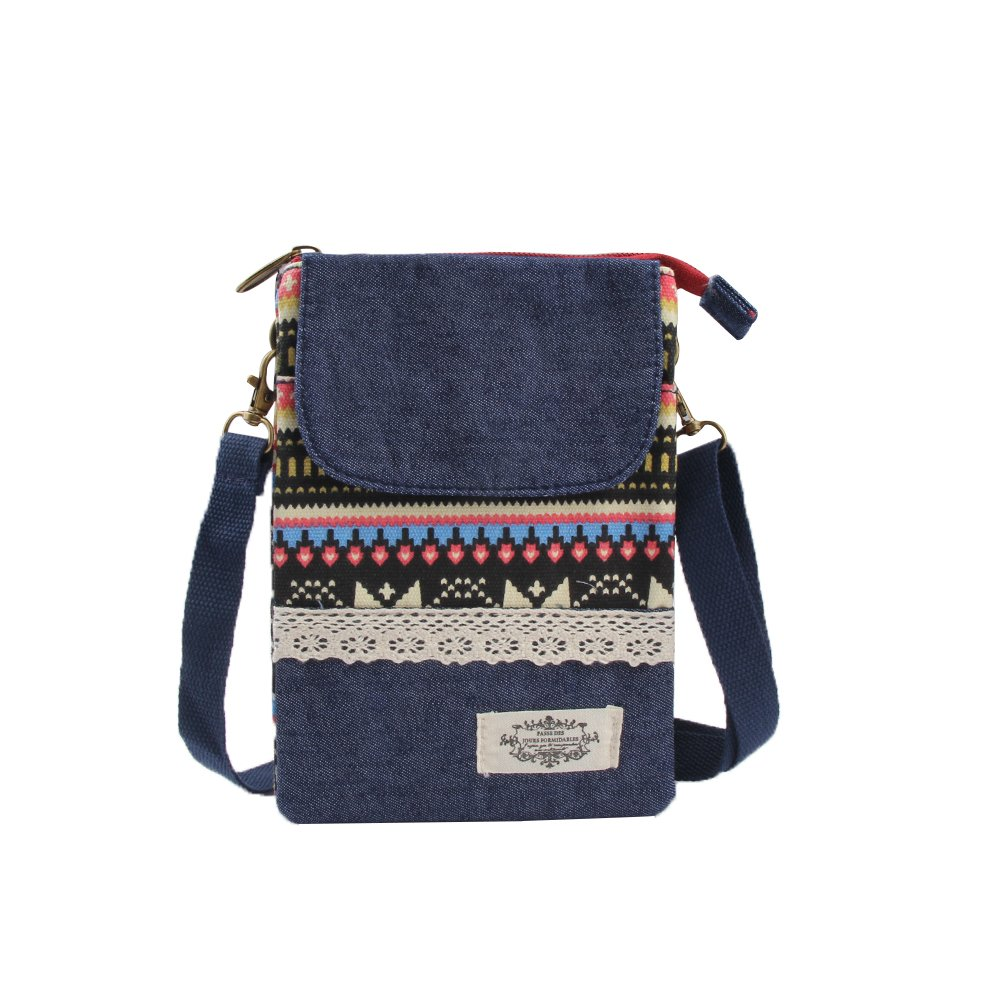 Phone Purse Canvas Small Mini Crossbody Bags for Women Girls National Style Pattern
