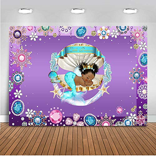 Mocsicka Royal Mermaid Baby Shower Backdrop 7x5ft Under The Sea Shell Dark Skin Baby Girl Mermaid Photo Backdrops Mermaid Theme Party Decoration Banner Supplies]()