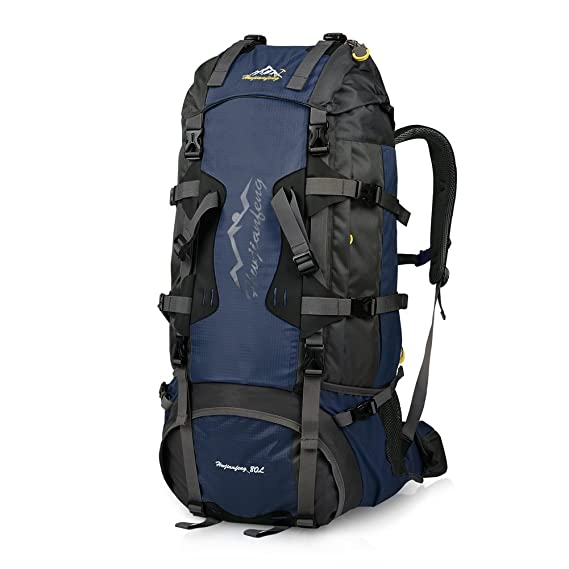 Vbiger 80L Hiking Backpack Water-resistant Trekking Rucksack Travel Daypack  with Rain Cover a2218cdc056fb