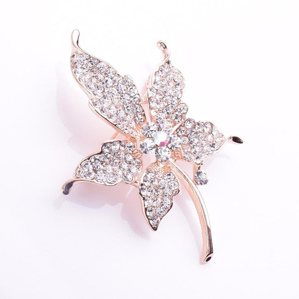 993f6284b4bfd 80% OFF Ludage Broche de flor de cristal Maple hojas broche ropa pin ...