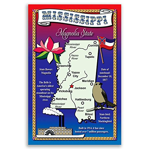 MISSISSIPPI STATE MAP postcard set of 20 identical postcards. Post cards with MS map and state symbols. Made in USA.