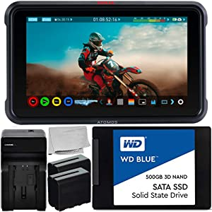 """Atomos Ninja V 5"""" 4K HDMI Recording Monitor with WD Blue 500GB Sata SSD Essential Bundle – Includes: 2X Rechargeable Lithium-Ion Battery + Battery Charger + Microfiber Cleaning Cloth"""
