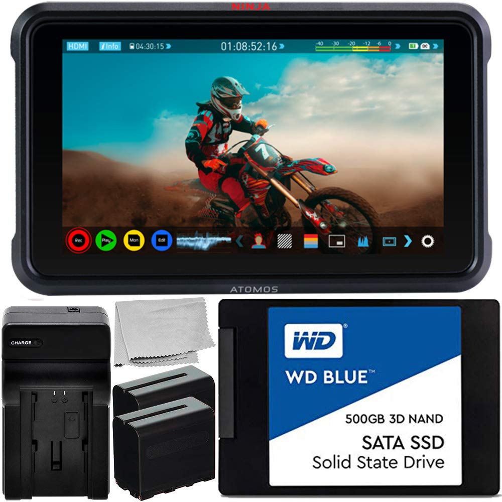 Atomos Ninja V 5'' 4K HDMI Recording Monitor with WD Blue 500GB Sata SSD Essential Bundle - Includes: 2X Rechargeable Lithium-Ion Battery + Battery Charger + Microfiber Cleaning Cloth by Atomos