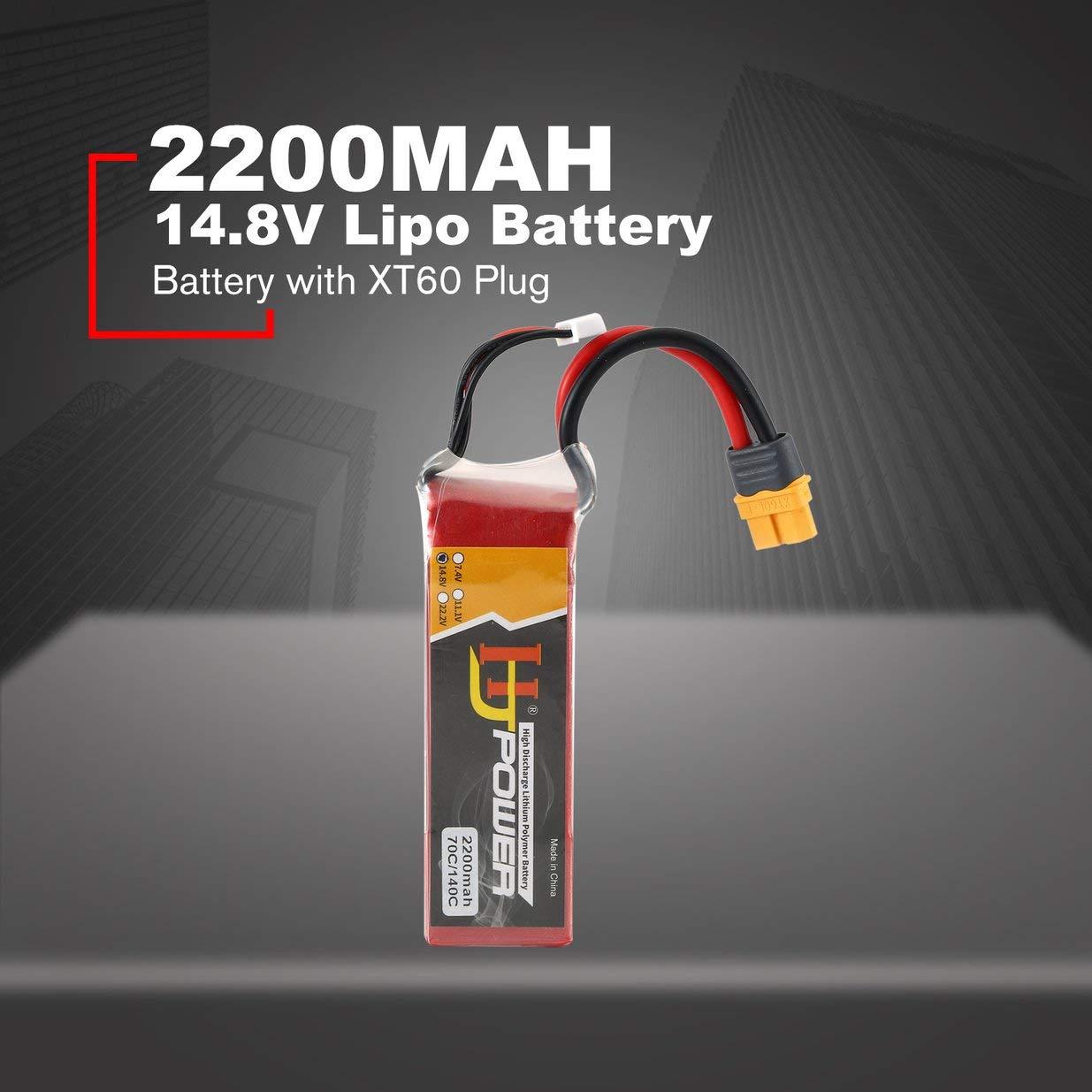 Sairis HJ 14.8V 2200MAH 70C 4S Bater/ía Lipo XT60 Enchufe Recargable para RC Racing Drone Helic/óptero Coche Barco Modelo