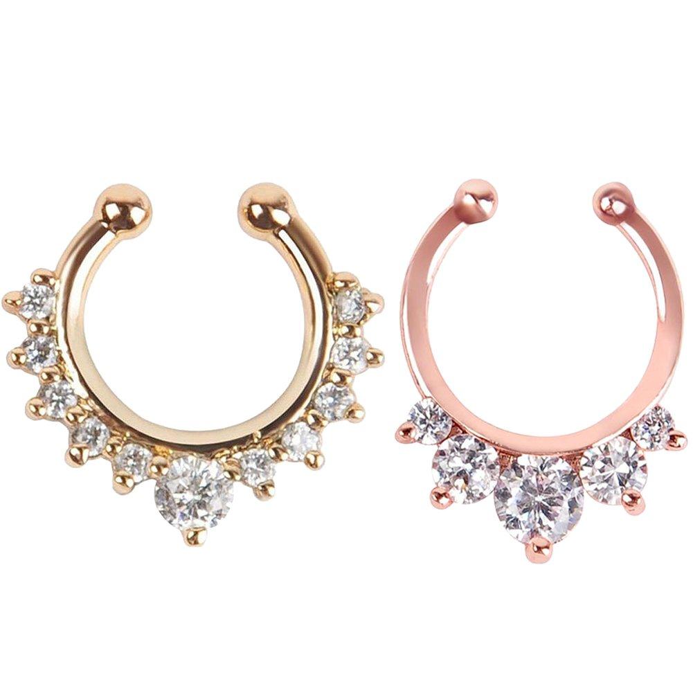 2 pezzi Monili penetranti del Septum dell'anello del naso di per le donne Clip non piercing sui monili penetranti del corpo (Argento + Oro) GOOTUUG BDOIEE-004