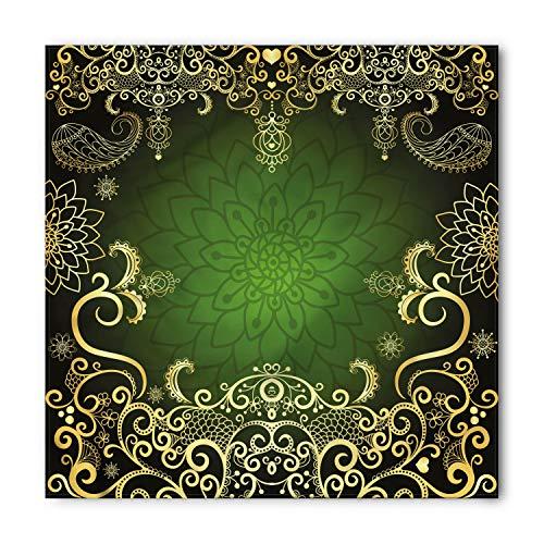 Bandana Frame - Ambesonne Unisex Bandana, Mandala Arabesque Frame Lotus, Yellow Black