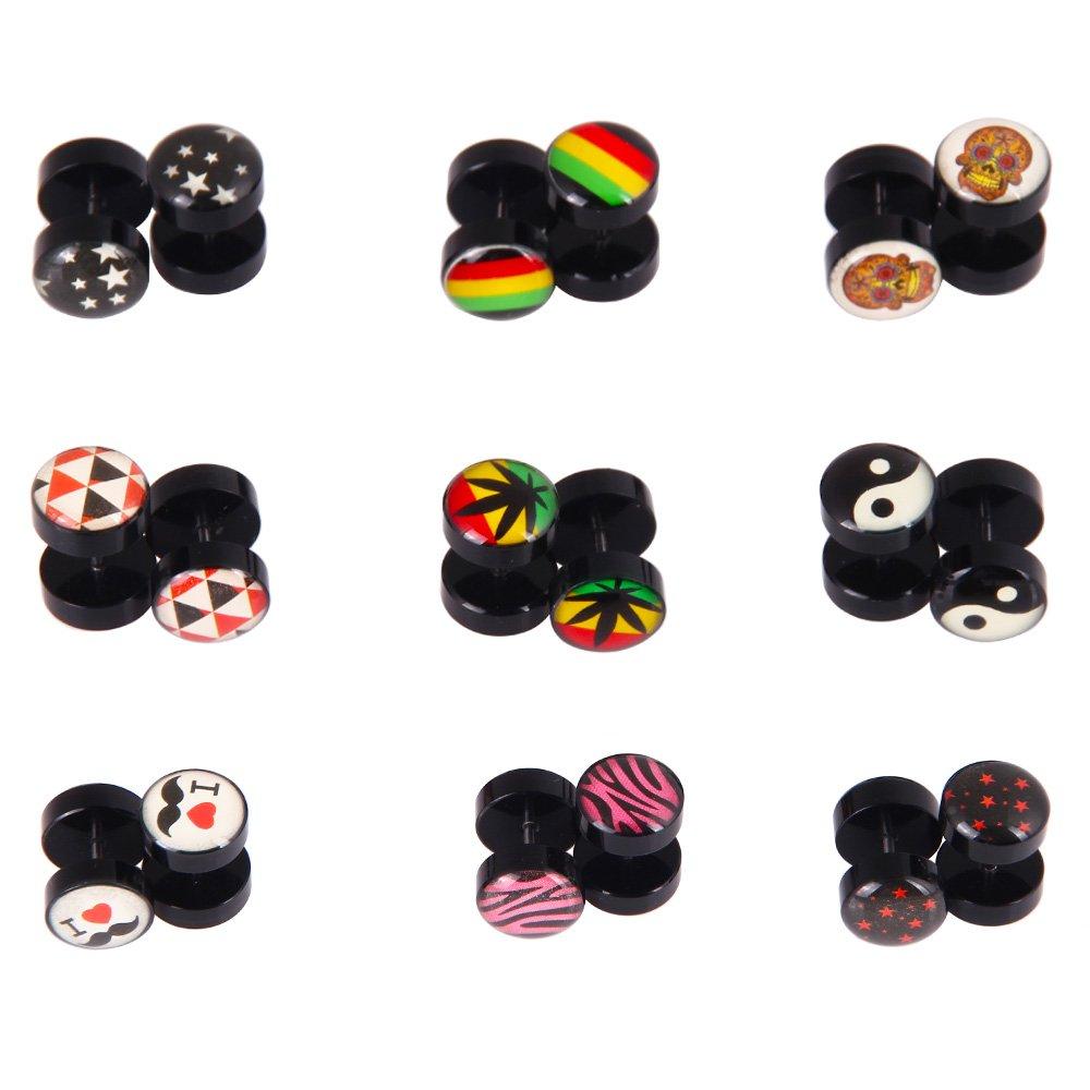 18Pcs Fake Plugs Stud Earrings Set, 16G 00G Gauges Ear Piercing Plugs Body Jewelry No Duplicate (9 Pairs)