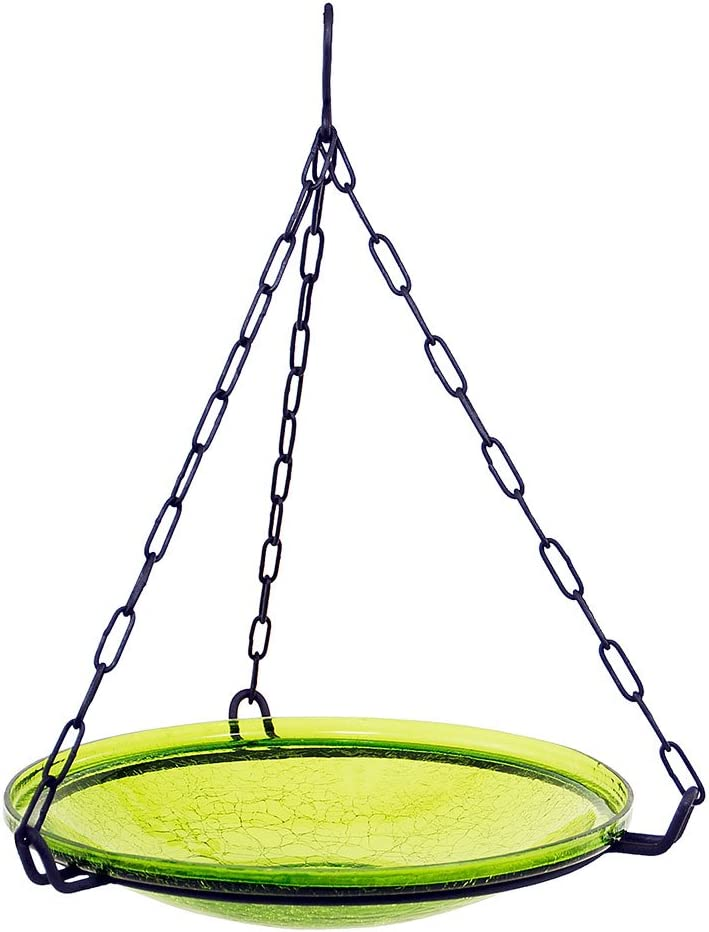 Amazon Com Achla Designs Crackle Glass Hanging Birdbath 14 In Bowl Fern Green Garden Outdoor