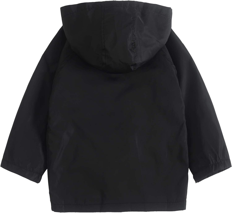 YNIQ Girl Baby Kid Waterproof Hooded Coat Jacket Outwear Raincoat Hoodies for Boys 4T 5T Black