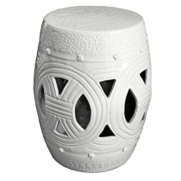Asian Traditional White Carved Rope Chinese Garden Stool Seat Oriental  Ceramic Porcelain Furniture