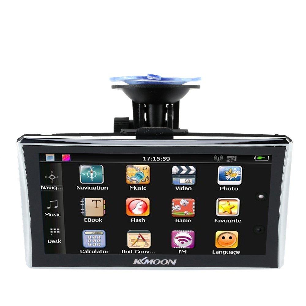 KKmoon GPS Navigatore con schermo da 7'' HD - 128 MB di RAM e 4GB di ROM FM Video MP3 con Supporto Schienale + Mappa Gratuita