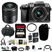 Panasonic Lumix DMC-GKS7 Mirrorless Digital Camera w/ 14-42mm f/3.5-5.6 &Panasonic LUMIX G MACRO 30mm / F2.8 ASPH. / MEGA O.I.S. and 64GB SD Card Bundle (Silver)