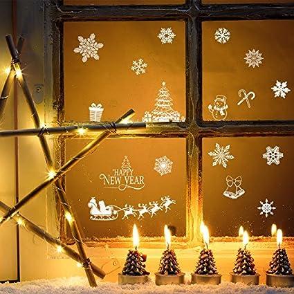 bestoyard christmas window decorations snowflake window clings decal stickers removable pvc wall window door mural decal - Christmas Window Decorations Amazon