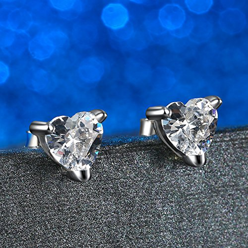 Gagafeel S925 Sterling Silver Women Girl Love CZ Heart Crystal Stud Earrings with Gift Box (White) by GAGAFEEL (Image #4)