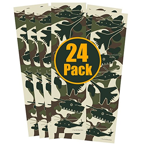 24 Military Camo Bookmarks for Boys - Helicopter, Tank, Fighter Jet Airplane Camouflage Party Favors - Kids Birthday Party Supplies - Reading Incentives - School Student ()