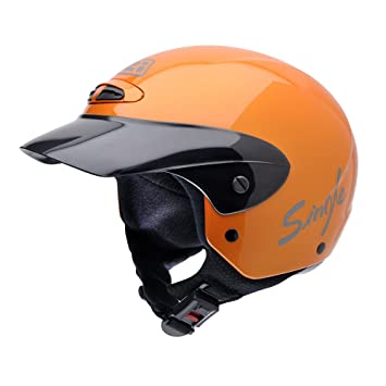 NZI 050216G193 Single Jr Metallic Orange Casco de Moto, Naranja, Talla 50-51