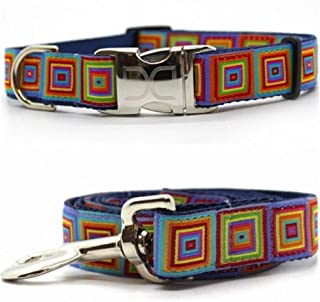 "product image for Diva-Dog 'Squares' Custom Medium & Large Dog 1"" Wide Dog Collar with Plain or Engraved Buckle, Matching Leash Available - M/L, XL"