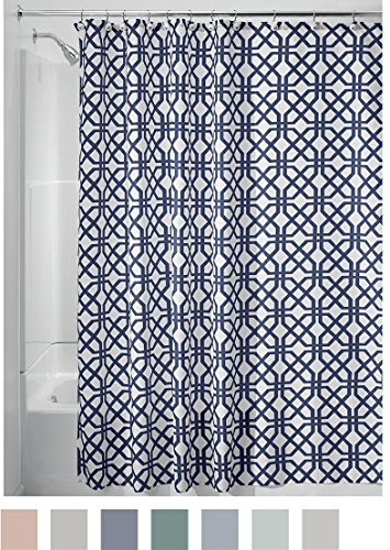 "InterDesign Trellis Fabric Shower Curtain - Stall 54"" x 78"", Stone Gray/White - Environmentally friendly(Please double check the size before you buy) Machine wash cold. Do not bleach or tumble dry Has 12 holes to which rings attach - shower-curtains, bathroom-linens, bathroom - 61yuctzJ0mL -"