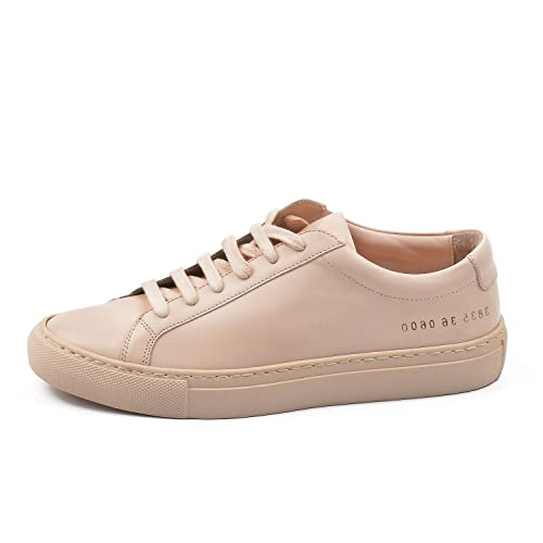 9ef17415623cf DONNAIN Genuine Leather Sneakers for Women, Lace up Fashion Sneaker Womens,  White Casual Low Shoes