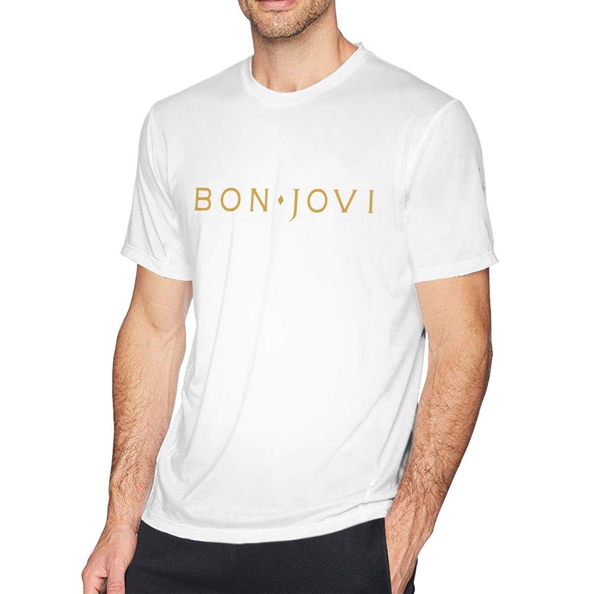 FengYuqi Bon Jovi Man Classic Short Sleeve T-Shirt Athletic Cool Running T-Shirt Black