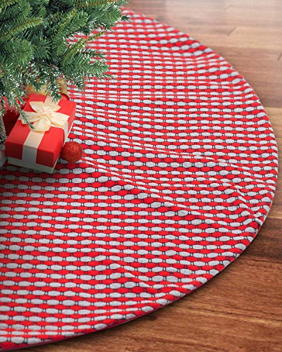 S-DEAL 48 Inches Wool Knitted Christmas Tree Skirt Double Layers Carpet Décor for Party Holiday Xmas Ornaments Gift Red and Grey from S-DEAL