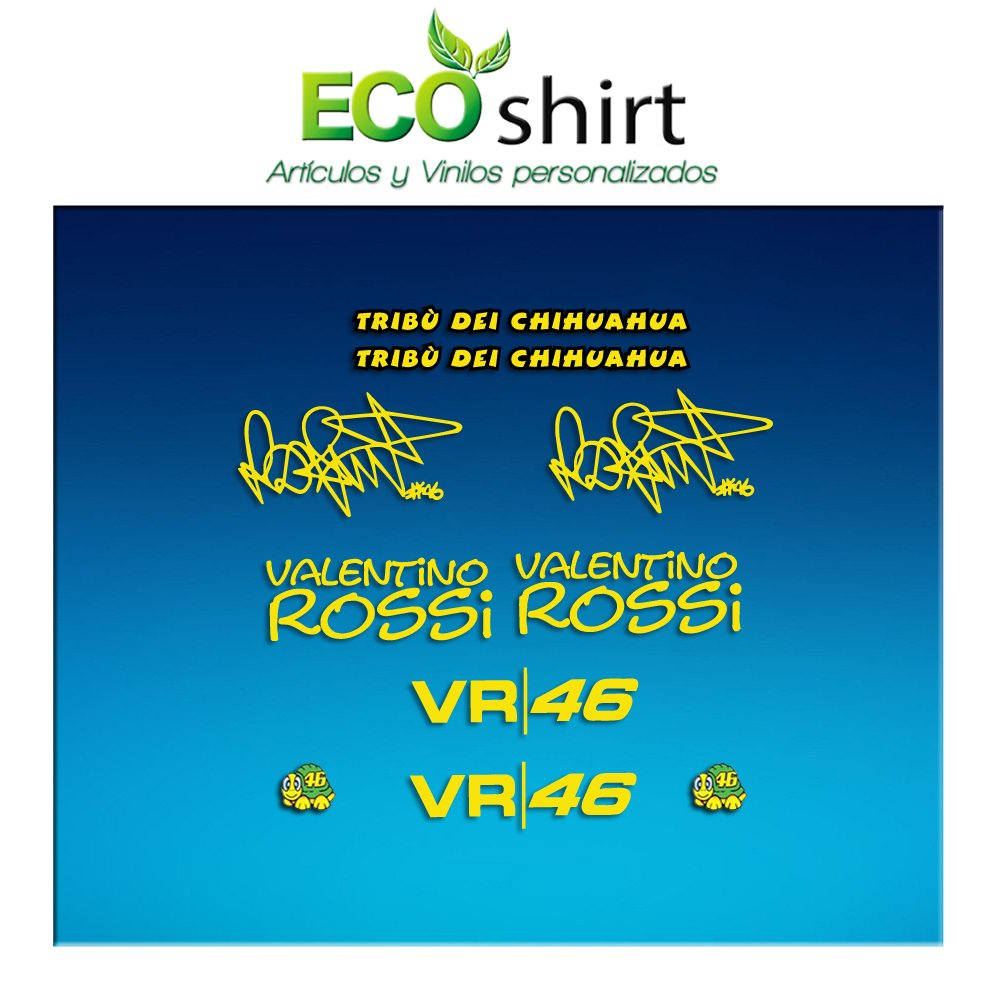 Ecoshirt 8V-EMCD-1WD4 Pegatinas Am1 Tribu Chihuahua Rossi Vr46 Stickers Aufkleber Decals Autocollants Adesivi The Doctor Amarillo