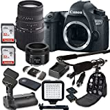 Canon EOS 6D 20.2 MP Full Frame CMOS DSLR Camera EF 50mm F/1.8 STM Lens + Sigma 70-300mm Zoom Lens + 2pc SanDisk 32GB SD Cards + Battery Power Grip + Special Promotional Holiday Accessory Bundle