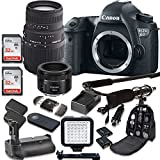Canon EOS 6D 20.2 MP Full Frame CMOS DSLR Camera with EF 50mm F/1.8 STM Lens + Sigma 70-300mm Zoom Lens + 2pc SanDisk 32GB SD Cards + Battery Power Grip + Special Promotional Holiday Accessory Bundle
