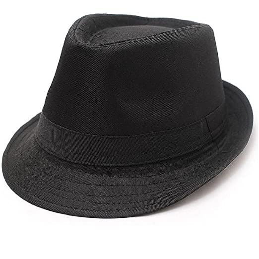 Amazon.com  Hooyi Baby Boy Girl Fedora Jazz Hat Plaid Pot Cap (Black ... 9d2d3670c38