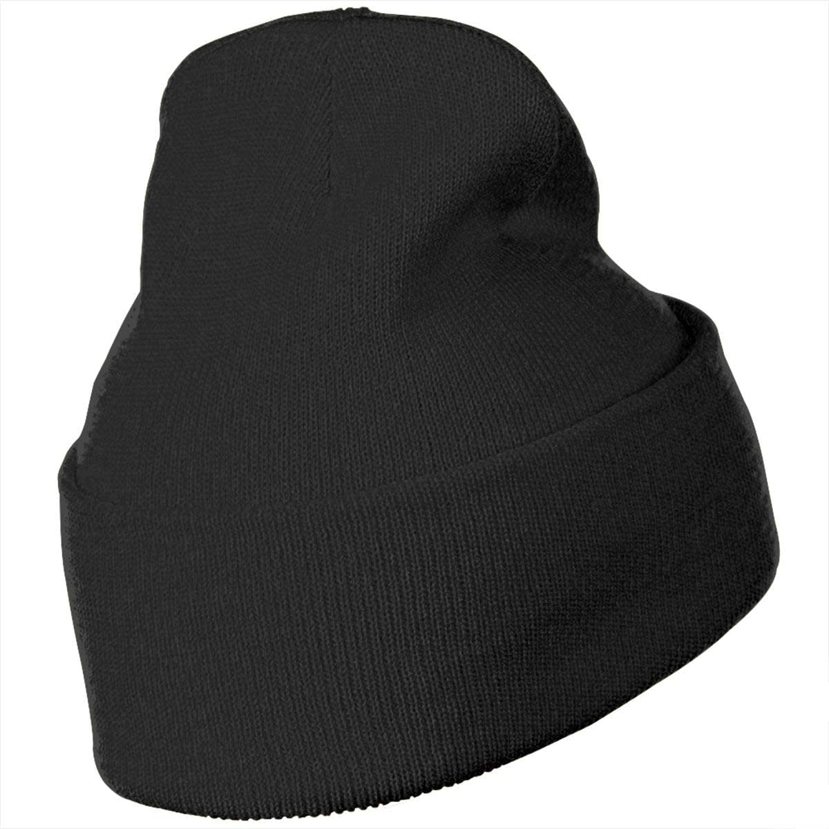 JimHappy Flat Space Hat for Men and Women Winter Warm Hats Knit Slouchy Thick Skull Cap Black