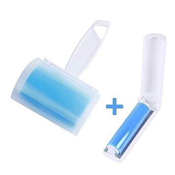 WOWGO (2pack) Rodillos pegajosos para atrapar pelusas, reutilizables y lavables. Rodillo con tapa y tamaño de viaje (azul): Amazon.es: Hogar