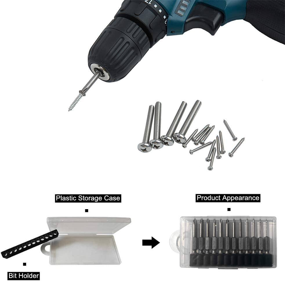 XLCMSY Phillips Cross Screwdriver Bit Set Precision Hex Shank Magnetic Security Bit Power Tools Set for Electric Screwdriver Drill with Carrying Case 12Pcs // 1//4 Inch