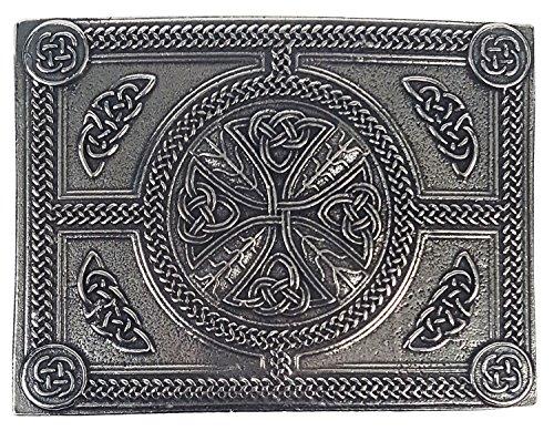 Pewter Belt Buckle Cross - Celtic Cross Pewter Kilt Belt Buckle