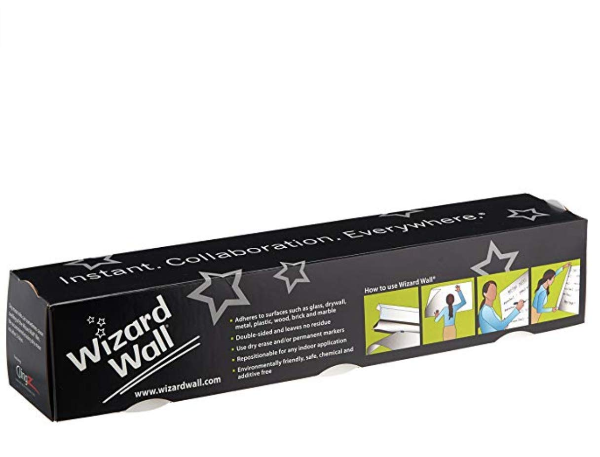 Wizard Wall   White 27.5'' x 25' Roll, Static Cling, Dry Erase Whiteboard Sheets with Tear-Free Slide Cutter