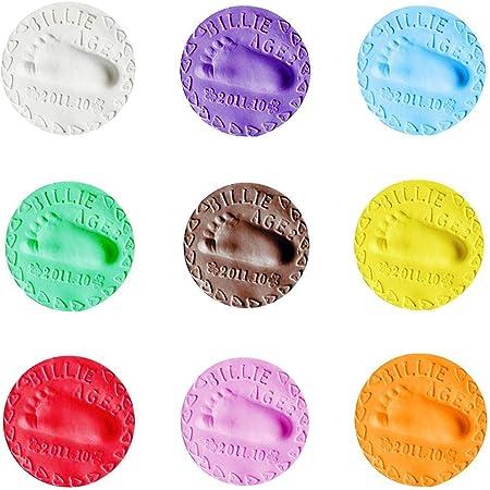 meilleur couleur n brillante acheter maintenant 9PCS Baby Pâte d'argile molle pour empreinte de la main et ...